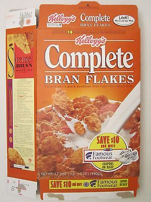 Kellogg's Cereal Box 17.3 oz Complete BRAN FLAKES 1996 Famous Footwear Coupons