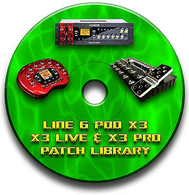Line 6 Pod X3 Live Pro Pre-Programmed Tone Patches Cd Over 7500! Guitar Effects