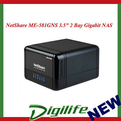 "Welland NetShare ME-581GNS 3.5"" 2 Bay USB3.0 Gigabit NAS with RAID 0/1/JBOD"