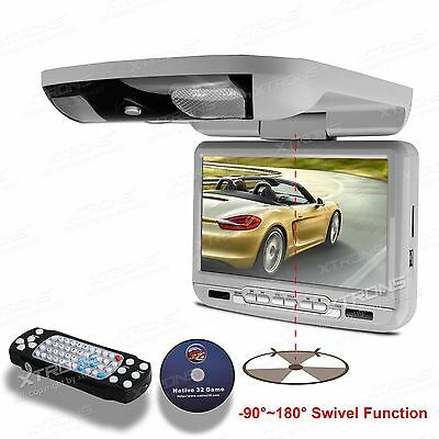 """Gray 9"""" Roof Mount Flip Down Car Monitor DVD Player Overhead Game Disc IR Handle"""