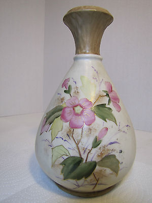 Antique RH Austria Floral decorated Porcelain Vase flowers and leaves throughout