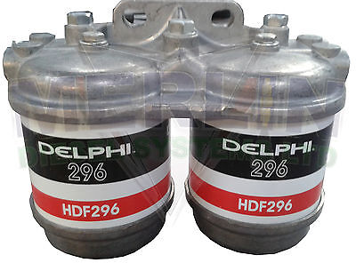 "Double Twin Diesel Fuel Filter Assembly Hdf296 1/2"" Unf 12Mm Perkins 5845B580"