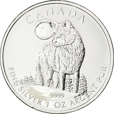 Monnaies, Canada, 5 Dollars Loup 2011, 1 once Argent, KM 1052 #88755