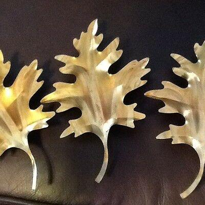 Vintage HOMCO Home Interiors Lot of 3 Gold Brass Tone Metal Oak Leaves