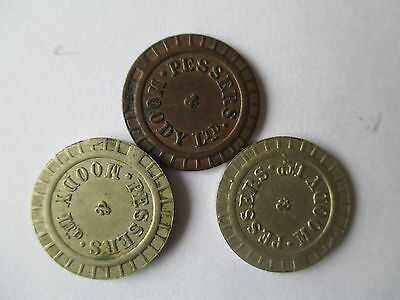 3 X PESSERS & MOODY LTD AMUSEMENT MACHINE TOKENS FOR BAGATELLE c.1926