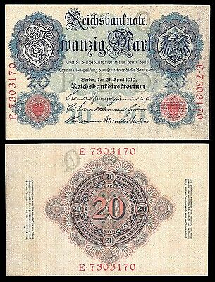 Germany 20 MARK 21.4.1910 P 40b VF-XF