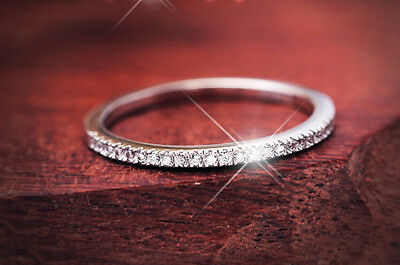 Women's Cz Sterling Silver Aniversary Wedding Band Skinny Ring Size 3-11.5 S1853