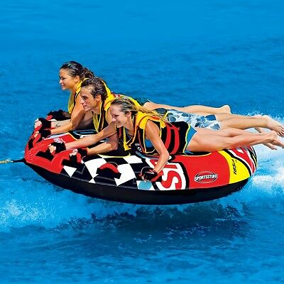 SportsStuff Frequent Flyer Inflatable Water Tube 3 Rider Boat Towable 53-1661
