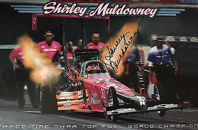 Shirley Muldowney Autographed Large Promotional  Drag Racing Hot Rod NHRA 17x11