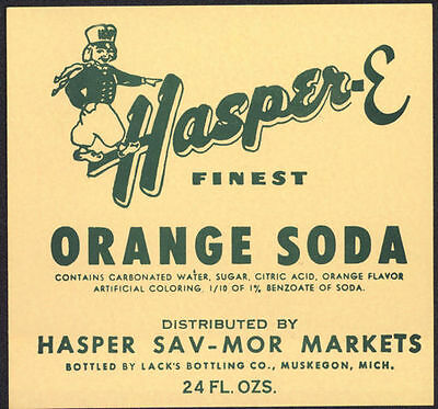 1950's Hasper Orange Soda Label with Dutch Kid Free Shipping !