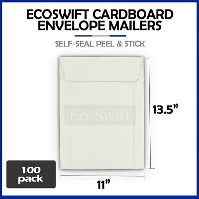 "100 - 11"" x 13.5"" Self Seal White Photo Ship Flats Cardboard Envelope Mailers"