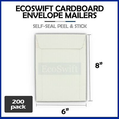 "200 - 6"" x 8"" White CD/DVD Photo Ship Flats Cardboard Envelope Mailer Mailers"