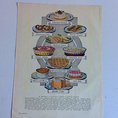 Original Colour Plate Food Dishes Jelly Cake Vintage 1930's Art Print Frame