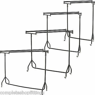 HEAVY DUTY DOUBLE TOP CLOTHES BLACK CLOTHES,GARMENT RAILS WITH  3ft 4ft 5ft 6ft