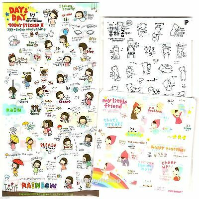 Pony Brown DAY & DAY BEAR MY LITTLE FRIEND Cute Sticker Diary Scrapbooking Decor