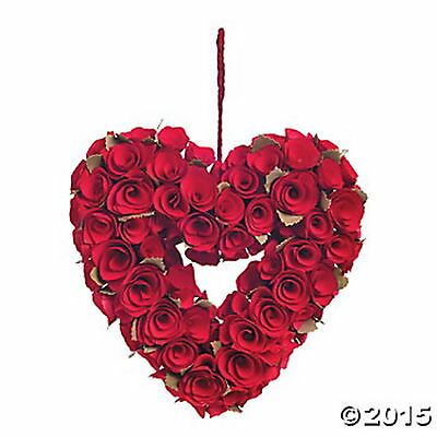 Carved Wooden Red Roses WREATH Wood Red Roses Heart Wreath BEAUTIFUL UNIQUE