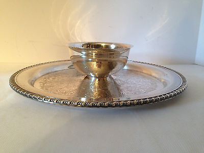 "WMA Rogers Silverplate Serving Tray with Attached Bowl 12 1/4"" diameter"