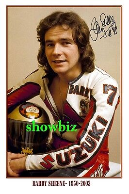* BARRY SHEENE * Autographed poster of late MotoGP World Champion. Large size!