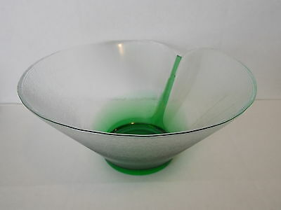 Vintage Antique Collectable Retro Art Glass Green Clear Ribbed Bowl
