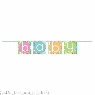 Baby Shower UNISEX Pastel Party Decorations Girls Boys Block Hanging Banner