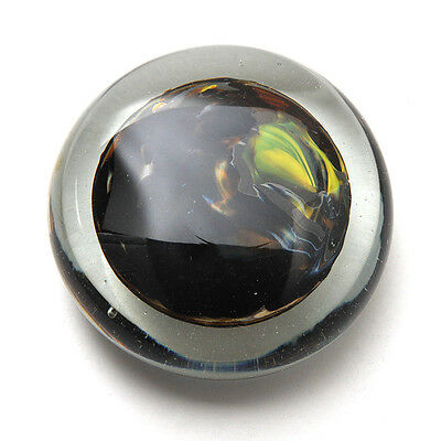 Elegant Clear Glass Paperweight with Multicolored Center - Signed By Grossman