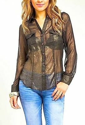 SEXY BLACK/GOLD BUTTON-UP FRONT DRAPE OPEN BACK BLOUSE POCKETS SHEER CLEAVAGE