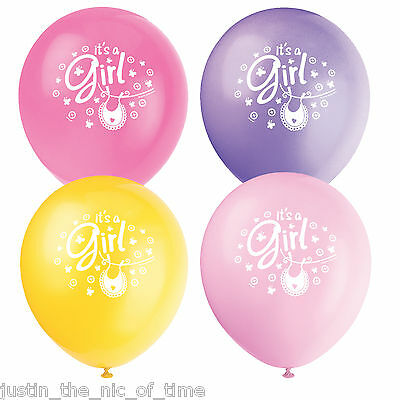 """Baby Shower GIRLS Pink Party Clothesline Range 12"""" Latex Balloons x8"""