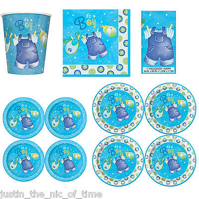 Baby Shower BOYS Party Tableware Supplies Boy Napkins Plates Cups Tablecover