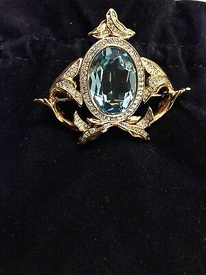 Swarovski Cameo Style Blue Crystal Pin Brooch Signed - New
