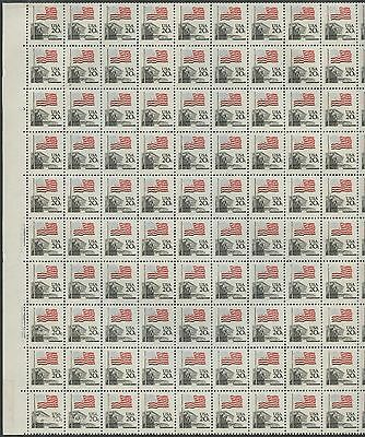 #1894c FULL SHEET/100 20¢ FLAG WITH PARTIAL DARK BLUE OMITTED MAJOR ERROR WL8491