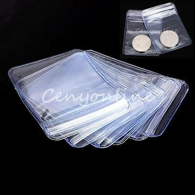 100/200pcs Coin Badge Holder Collection Clear Plastic Wallet Storage Bag 50x70mm