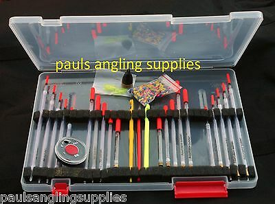 Float Box & Clear Waggler Fishing Float Combo With Disgorgers ,Shot , Plummets