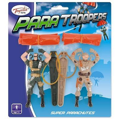 2 Para Troopers Parachute Army Toy Soldier Kids Boys Catapult Stocking Party Bag