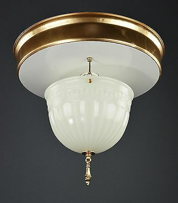 Early Electric Milk Glass Ceiling Pendant Gold Flush Light c1915 TWO AVAILABLE!