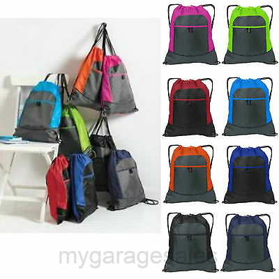 Colorblock Drawstring Backpack Cinch Sack Tote Gym Bag Sport Pack 14X17