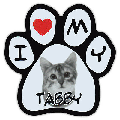 Picture Cat Paw Shaped Car Magnet - Tabby - Bumper Sticker Decal