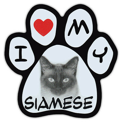 Picture Cat Paw Shaped Car Magnet - Siamese - Bumper Sticker Decal