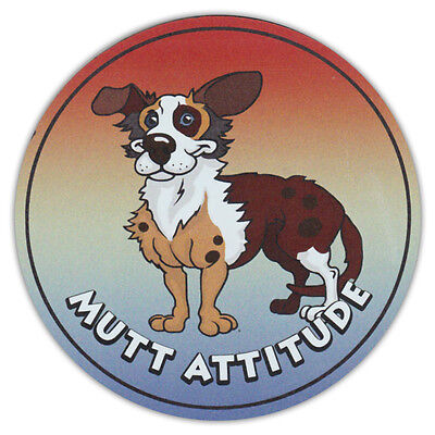 Round Dog Breed Car Magnet - Mutt Attitude - Bumper Sticker Decal