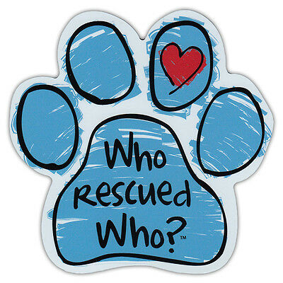 Blue Scribble Dog Paw Shaped Car Magnet - Who Rescued Who? - Bumper Sticker