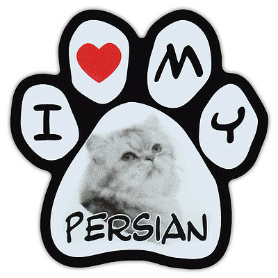 Picture Cat Paw Shaped Car Magnet - Persian - Bumper Sticker Decal
