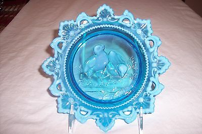Vintage Westmoreland Glass Blue Opalescent Easter Chick 7 Inch Plate