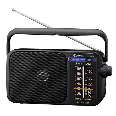 AM/FM Black Portable radio speaker/earphone plug jack/on Battery/Power AC/DC