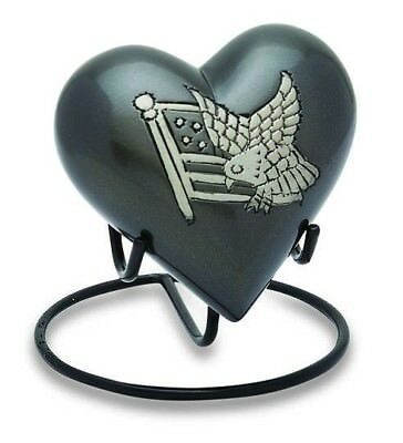 American Flag 3 Cubic Inch Heart Keepsake Funeral Ashes Cremation Urn With Stand