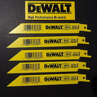 "5 x DeWalt DW4808 Reciprocating Saw Blades 6"" - 150mm - 14 TPI AUSTRALIA Post"