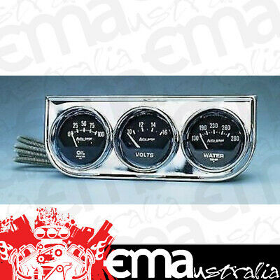 "Autometer Auto Gage 2-1/16"" 3 Gauge Chrome Console Water Temp/oil/volts Au2349"