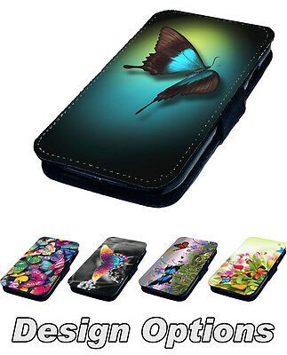Butterfly Designs - Printed Faux Leather Flip Phone Cover Case