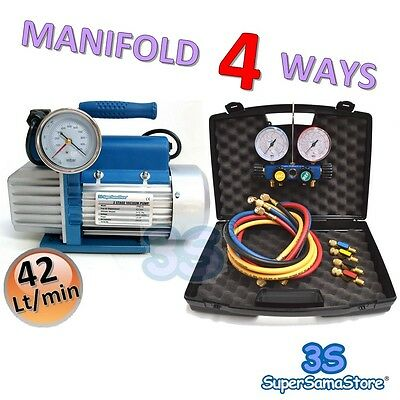 3S A/C Vacuum PUMP 1.5 CFM 2 Stages + MANIFOLD GAUGE SET 4 WAYS R32 R410A R134A