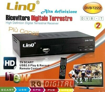 DECODER DIGITALE TERRESTRE FULL HD DVB-T2 - HDMI - USB 2.0 Linq DVB-T222