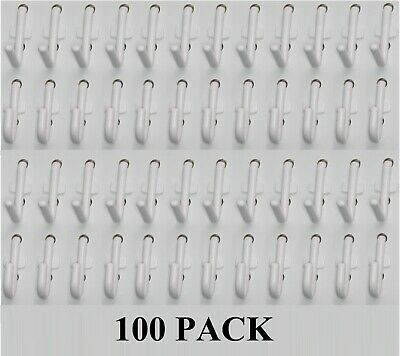 Plastic White Peg board wall Locking Hook 50 J & 50 L pack PEGBOARD NOT INCLUDED