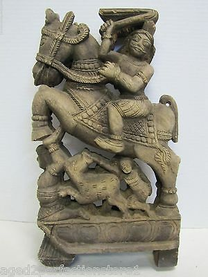 Antique Hand Carved Asian Wood Art Panel figural horse warrior rider ornate
